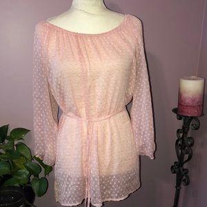 Kenjifer Lopez  pink polka dot blouse